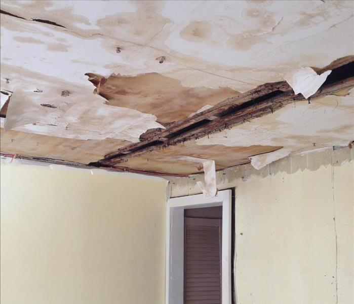 A water damaged ceiling