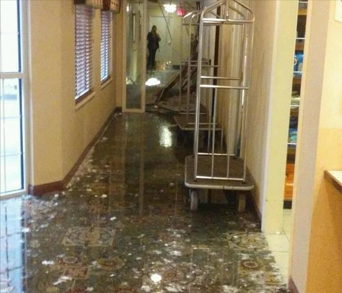 Water damaged hotel floor from a broken pipe